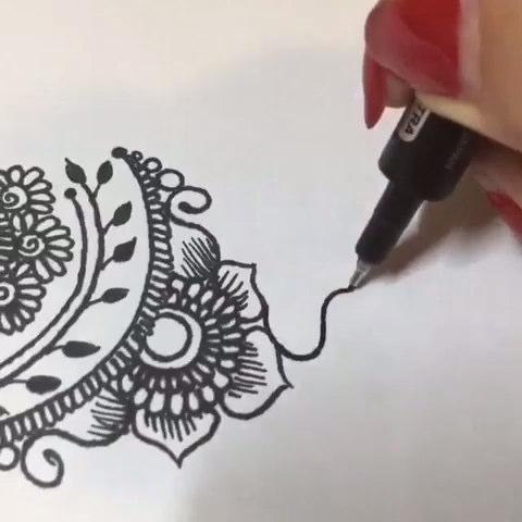 曼海蒂##印度海娜手绘##henna##随手美拍##周三#曼陀罗花朵